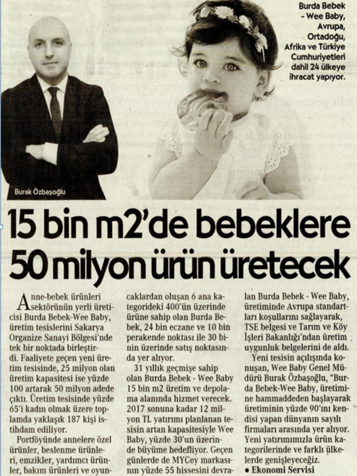 15 Bin m2'de Bebeklere 50 milyon ürün üretecek