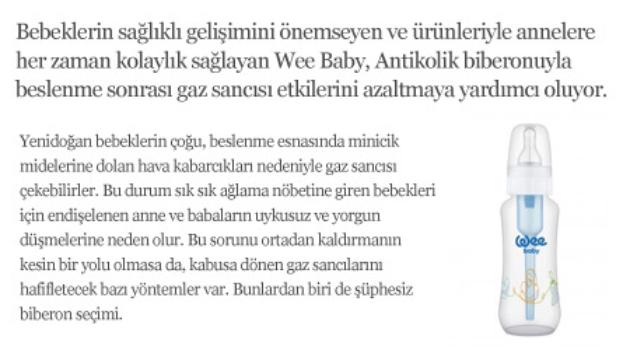 Wee Baby Antikolik biberonuyla bebekler mutlu anneler mutlu
