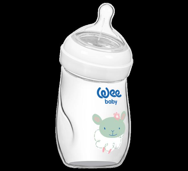 Wee Baby Natural Isıya Dayanıklı Açılı Cam Biberon 180 ml